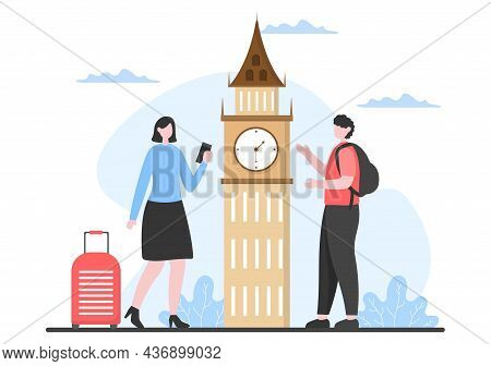 Travel To United Kingdom Background Vector Illustration. Time To Visit The Icon Landmarks Of These W