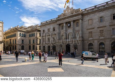 Barcelona, Spain - September 22, 2021: Plaza De Sant Jaume. Historic Palace, Houses The Offices Of T