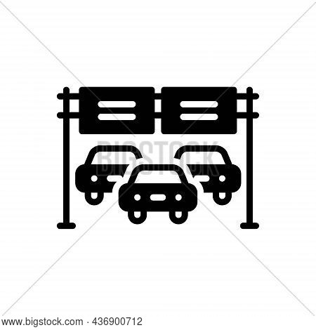 Black Solid Icon For Interstate Roadway State-highway Roadtrip Automobile Billboard
