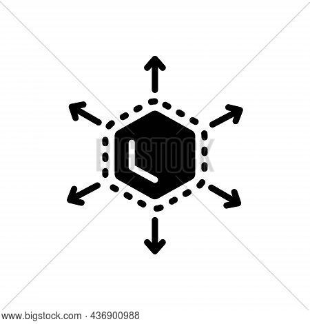 Black Solid Icon For Expanding Increase-in-size Enlarge Size Fullscreen Bigger Application