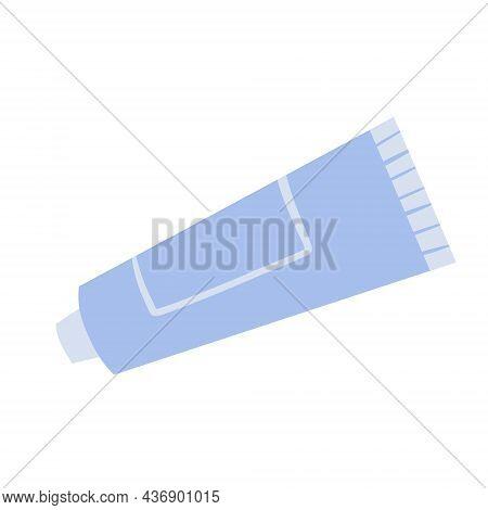 Tube Of Toothpaste. Personal Hygiene. Blue Packaging. Flat Cartoon