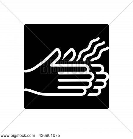 Black Solid Icon For Dried Scrawny Seared Parched Hand Dry