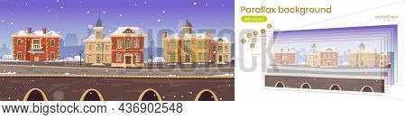 Old Town Street With Retro European Buildings And Stone Promenade. Vector Parallax Background For 2d