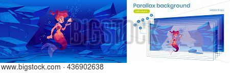 Parallax Background With Cute Mermaid And Little Fish At Sea Bottom. Underwater 2d Landscape With Ca