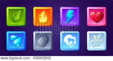 Game Ui App Icons, Square Buttons, Cartoon Menu Interface 2d Gui Graphic Design Elements. Green Leaf