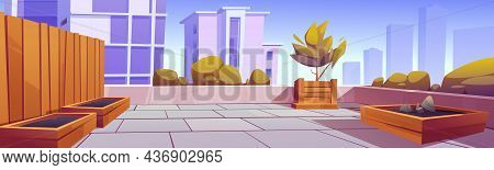 Rooftop Garden, Building Terrace With Green Plants And Wooden Crates For Gardening And Farming. Vect