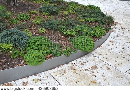 Wood Benches On Their Paneling Under The Benches Is A Rectangle Of Concrete Anti-scraping Beige Path
