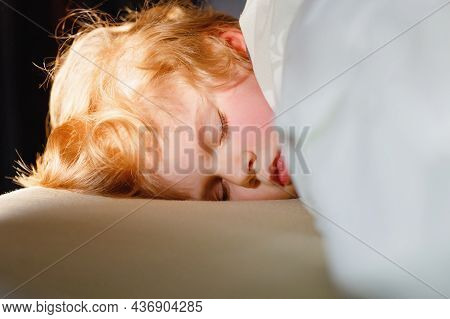 Little Toddler Child Resting On Say In Parents Bed. Adorable Kid Boy Sleeping And Dreaming. Peaceful