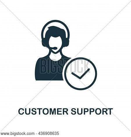 Customer Support Icon. Monochrome Sign From Customer Relationship Collection. Creative Customer Supp