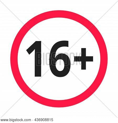 Under 16 Forbidden Round Icon Sign Vector Illustration. Sixteen Or Older Persons Adult Content 16 Pl