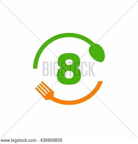 Restaurant Logo Design On Letter 8 With Spoon And Fork Concept Template. Kitchen Tools, Food Icon. C