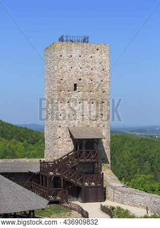 Checiny, Kielce, Poland - May 3, 2017: 13th Century Checiny Castle, Ruins Of Medieval Stronghold. It