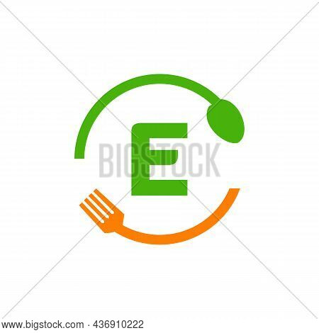 Restaurant Logo Design On Letter E With Spoon And Fork Concept Template. Kitchen Tools, Food Icon. C