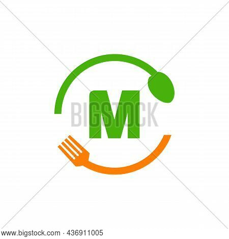 Restaurant Logo Design On Letter M With Spoon And Fork Concept Template. Kitchen Tools, Food Icon. C