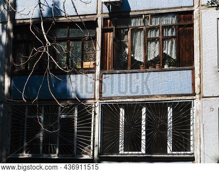 Soviet Recess Balcony. Soviet Residential Five-story Panel House, Built During The Brezhnev Era. Sov