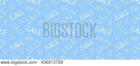 Vector Seamless Pattern With Inscription Sale And Percent Signs. Hand Drawn Background And Texture O