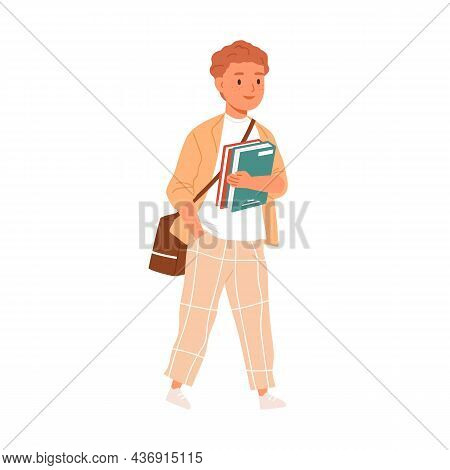 Child Going To School. Primary Student Kid Walking With Bag And Books In Hands. Happy Boy Pupil With