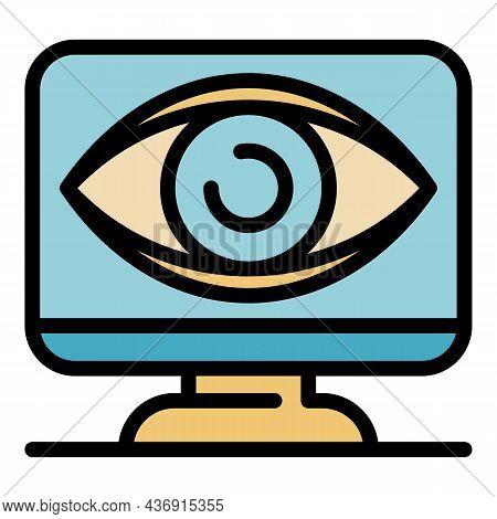 Big Eye On Monitor Icon. Outline Big Eye On Monitor Vector Icon Color Flat Isolated