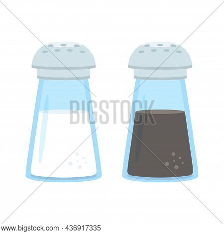 Salt And Pepper Shakers. Pair Of Glass Shaker With Metal Cap Pepper And Salt, Isolated On White. Vec