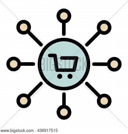 Shop Cart Company Scheme Icon. Outline Shop Cart Company Scheme Vector Icon Color Flat Isolated