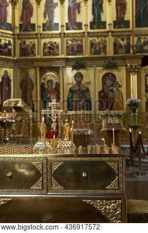 Burning Candles On The Background Of The Altar In An Orthodox Church. Faith And Prayer. Vertical.mos