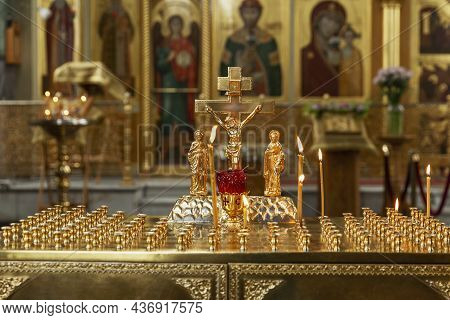 Burning Candles On The Background Of The Altar In An Orthodox Church. Faith And Prayer. Moscow, Russ