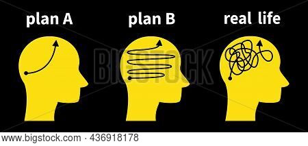 Plan A Plan B And Real Life. Silhouette Head Chaos And Strategy, Thoughts, Ideas, Choice Plan. Vecto