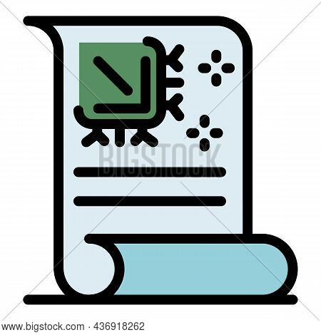 Ai Learning Paper Icon. Outline Ai Learning Paper Vector Icon Color Flat Isolated