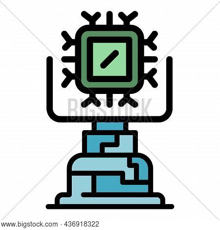Ai Learning Machine Icon. Outline Ai Learning Machine Vector Icon Color Flat Isolated