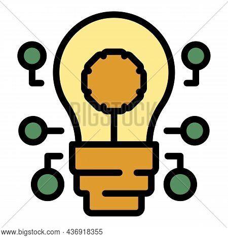 Ai Bulb Icon. Outline Ai Bulb Vector Icon Color Flat Isolated