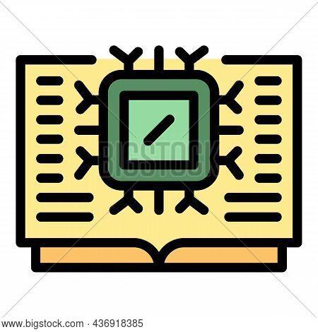 Ai Processor Book Icon. Outline Ai Processor Book Vector Icon Color Flat Isolated
