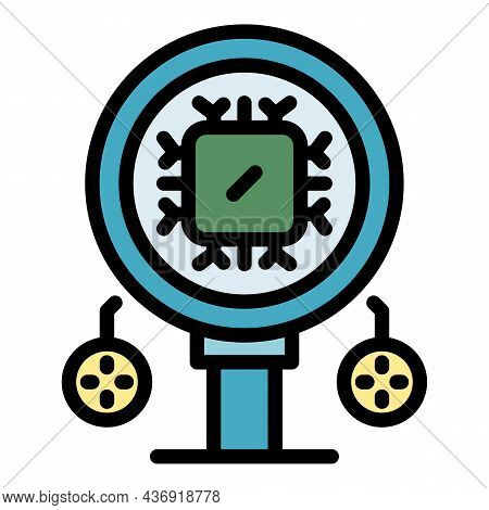 Ai Magnify Glass Icon. Outline Ai Magnify Glass Vector Icon Color Flat Isolated