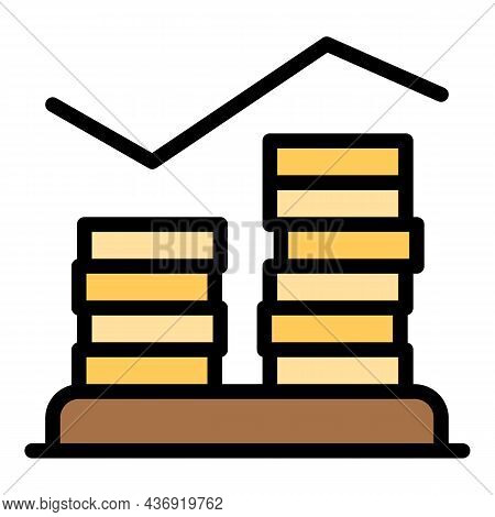 Coin Stack Graph Icon. Outline Coin Stack Graph Vector Icon Color Flat Isolated
