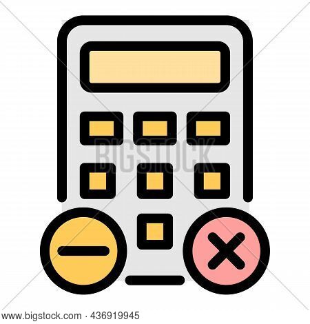 Office Calculator Icon. Outline Office Calculator Vector Icon Color Flat Isolated