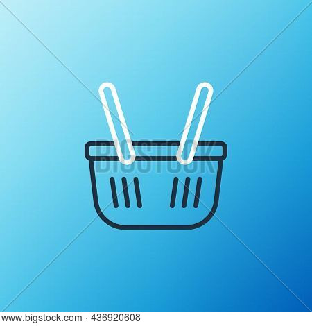 Line Shopping Basket Icon Isolated On Blue Background. Online Buying Concept. Delivery Service Sign.