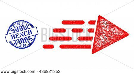 Vector Net Mesh Speed Carcass, And Bench Blue Rosette Corroded Watermark. Linear Carcass Net Image C