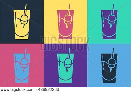 Pop Art Cocktail Bloody Mary Icon Isolated On Color Background. Vector