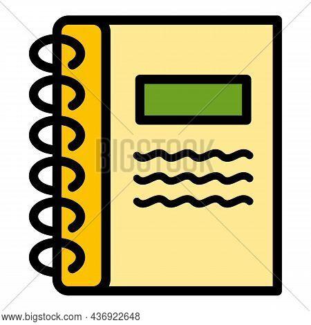 Carton Notebook Icon. Outline Carton Notebook Vector Icon Color Flat Isolated