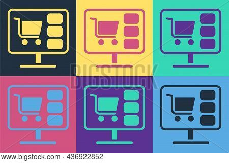 Pop Art Shopping Cart On Screen Computer Icon Isolated On Color Background. Concept E-commerce, E-bu