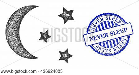 Vector Net Night Moon Sky Frame, And Never Sleep Blue Rosette Dirty Stamp Seal. Linear Frame Network