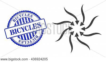 Vector Network Anticyclone Rotation Arrows Frame, And Bicycles Blue Rosette Corroded Stamp Seal. Lin