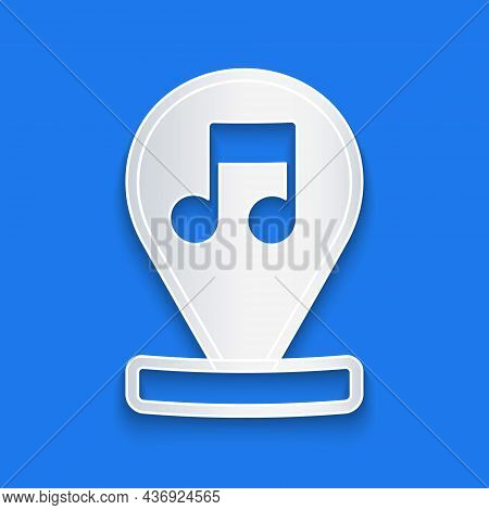 Paper Cut Music Note, Tone Icon Isolated On Blue Background. Paper Art Style. Vector