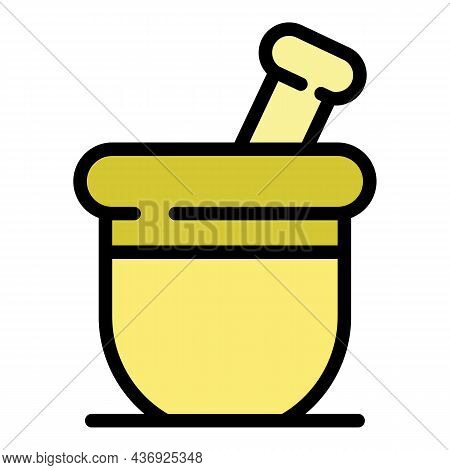 Long Medication Bowl Icon. Outline Long Medication Bowl Vector Icon Color Flat Isolated