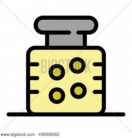 Bottle For Medication Icons Set. Outline Set Of Bottle For Medication Vector Icons Thin Line Color F