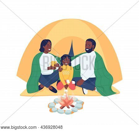 Family Of Campers Semi Flat Color Vector Characters. Posing Figures. Full Body People On White. Hiki