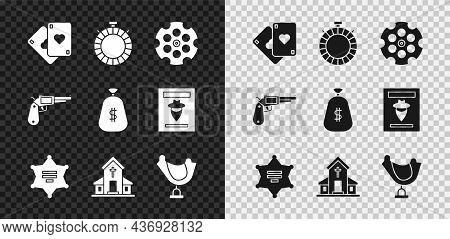 Set Playing Cards, Canteen Water Bottle, Revolver Cylinder, Hexagram Sheriff, Church Building, Wild