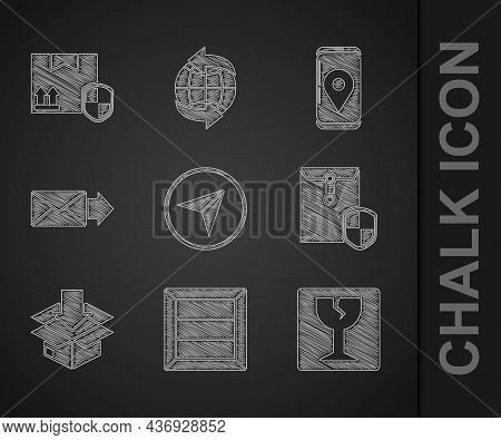 Set Infographic Of City Map Navigation, Wooden Box, Fragile Broken Glass, Envelope With Shield, Card