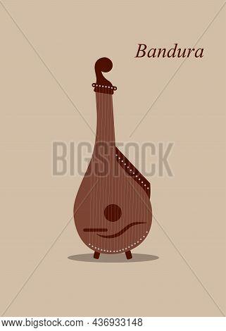 Bandura Vector Icon. Ukrainian National Plucked String Musical Instrument. Bandura Flat Icon.
