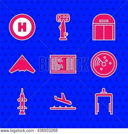 Set Airport Board, Plane Landing, Metal Detector Airport, Radar With Targets On Monitor, Rocket, Jet