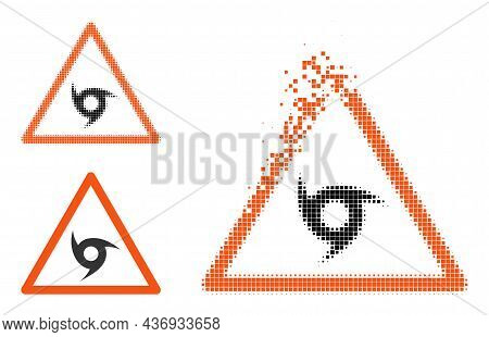 Destructed Dotted Cyclone Warning Icon With Halftone Version. Vector Wind Effect For Cyclone Warning